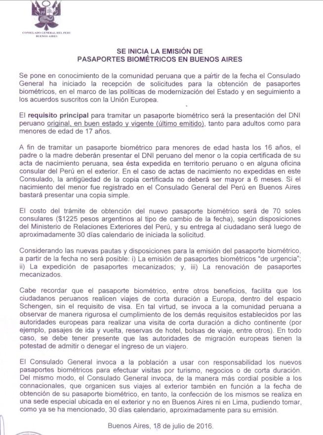 Pasaporte Peruano Biométrico costará $1225 pesos argentinos ...